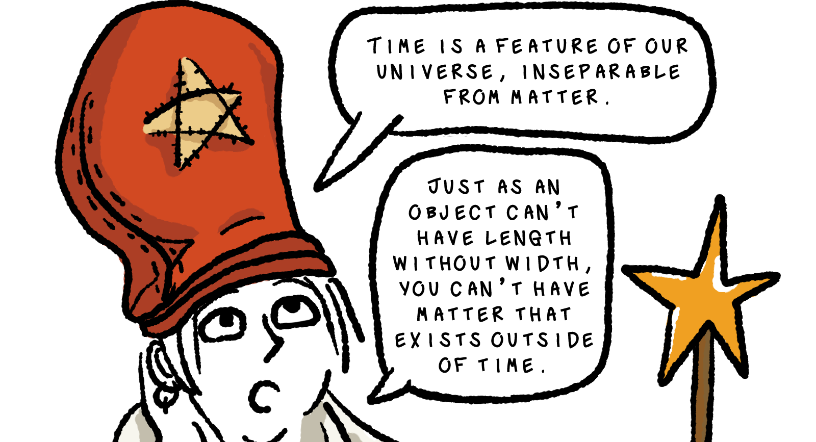 In a borderless panel, Elk is wearing a large red hat with a yellow star on it, which a tiny arrow pionting at him suggests he is dressed up in reference to a time mage from Final Fantasy. While brandishing his yellow wand that also has a star motif, he explains, Time is a feature of our universe, inseparable from matter.